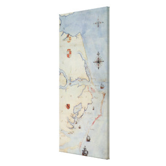 Map of Raleigh's Virginia Stretched Canvas Print