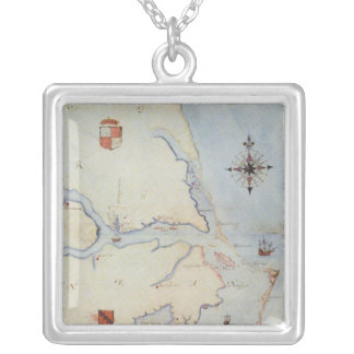 Map of Raleigh's Virginia Square Pendant Necklace
