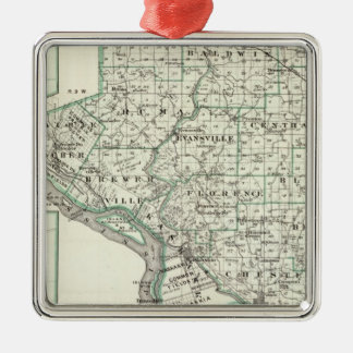 Map of Randolph County, Red Bud and Chester Metal Ornament