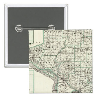 Map of Randolph County, Red Bud and Chester Pinback Button