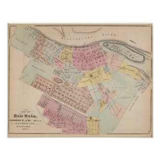 Map of Red Wing, Goodhue County, Minnesota Poster