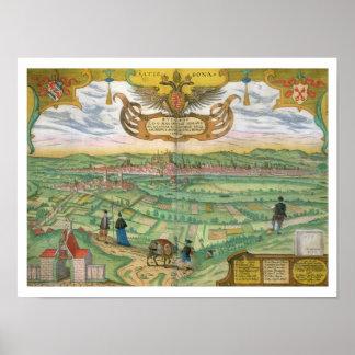 Map of Regensburg, from 'Civitates Orbis Terrarum' Poster