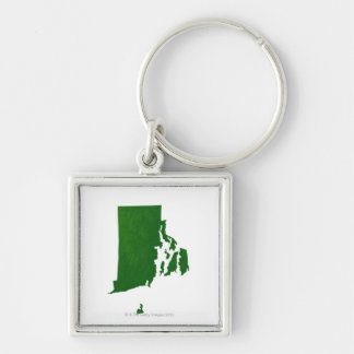 Map of Rhode Island 2 Silver-Colored Square Keychain