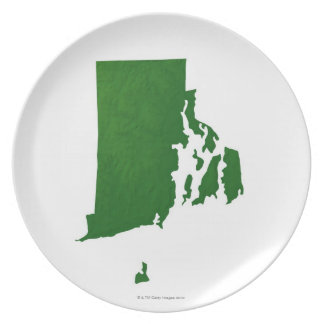 Map of Rhode Island 2 Party Plates
