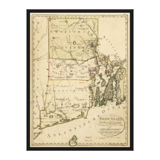 Map of Rhode Island by Carl Ernst Bohn (1797) Canvas Print