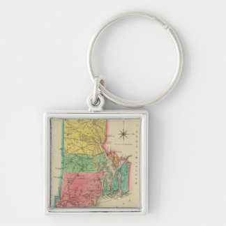 Map Of Rhode Island Silver-Colored Square Keychain