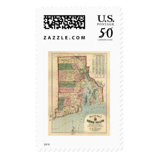 Map of Rhode Island & Providence Plantations 1880 Postage