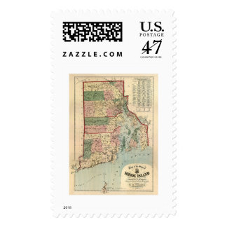 Map of Rhode Island & Providence Plantations 1880 Postage Stamp