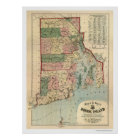 Map of Rhode Island & Providence Plantations 1880 Poster