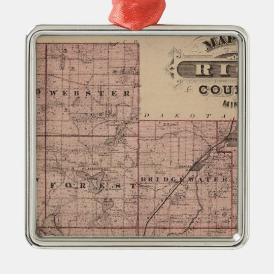 Map of Rice County, Minnesota Metal Ornament