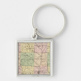 Map of Richland County, State of Wisconsin Keychains