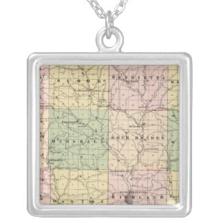 Map of Richland County, State of Wisconsin Silver Plated Necklace