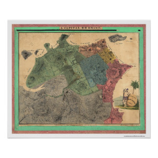 Map of Rio de Janeiro by Michellerie 1831 Posters