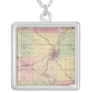 Map of Rock County, State of Wisconsin Silver Plated Necklace