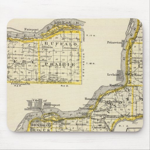 Map of Rock Island County and Dixon Mousepads
