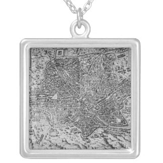 Map of Rome, 1579 Silver Plated Necklace