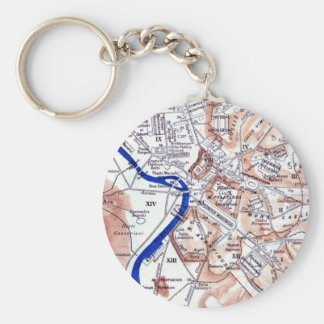 Map of Rome Basic Round Button Keychain