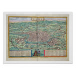 Map of Rome, from 'Civitates Orbis Terrarum' by Ge Poster