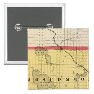 Map of Roscommon County, Michigan 2 Inch Square Button