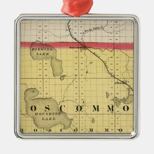 Map of Roscommon County, Michigan Square Metal Christmas Ornament