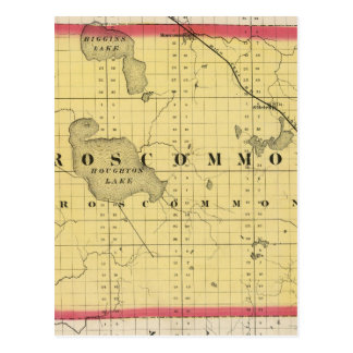 Map of Roscommon County, Michigan Postcard