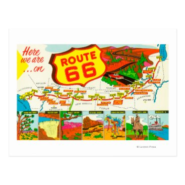 LanternPress Map of Route 66 from Los Angeles to Chicago Postcard