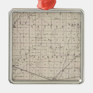 Map of Rush County Square Metal Christmas Ornament
