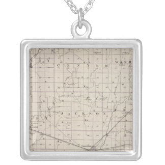 Map of Rush County Silver Plated Necklace
