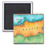 Map of Russia 2 Inch Square Magnet