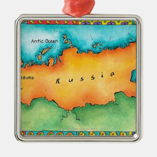 Map of Russia Metal Ornament
