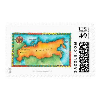 Map of Russia Stamp