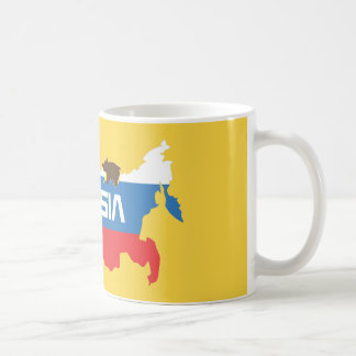 Map of Russia with White Blue and Red Flag within Coffee Mug