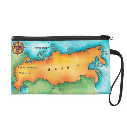 Map of Russia Wristlet