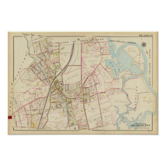 Map of Rye, New York Poster