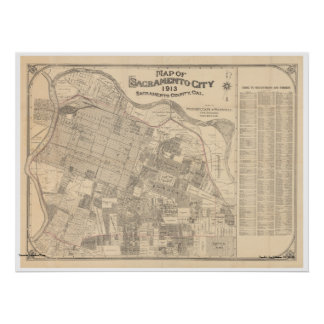 Map of Sacramento City, 1913 Poster