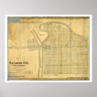 Map of Sacramento City & West Sacramento, 1850 Poster