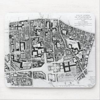 Map of Sainte-Genevieve area, Paris, 1756 Mouse Pad
