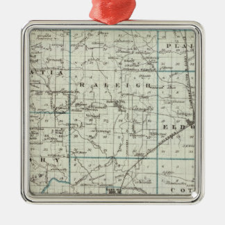 Map of Saline County Square Metal Christmas Ornament