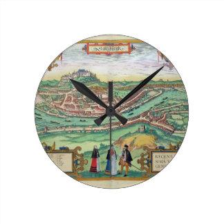 Map of Salzburg, from 'Civitates Orbis Terrarum' b Round Clock