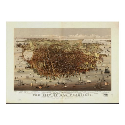 Map of San Francisco, Birds-Eye View, 1878 Poster