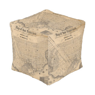 Map of San Francisco Cube Pouf