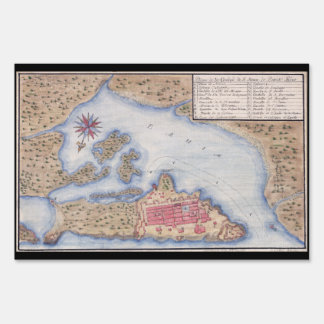 Map of San Juan Puerto Rico from 1770 Sign