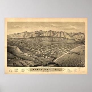 Map of Santa Barbara, Birds-Eye View, 1877 Print