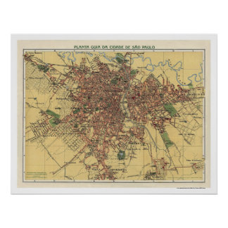 Map of Sao Paulo by Cococi 1913 Poster