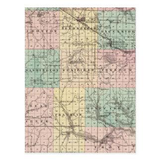 Map of Sauk County and Kilbourn City Postcard