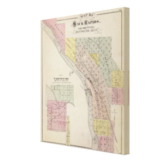 Map of Sauk Rapids, Map of Sauk Centre, Minnesota Canvas Print