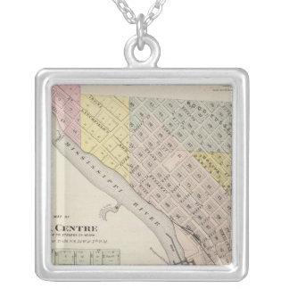 Map of Sauk Rapids, Map of Sauk Centre, Minnesota Silver Plated Necklace