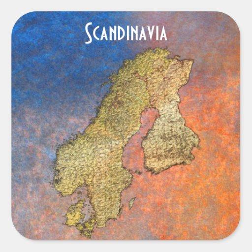 Map of SCANDINAVIA on Coloured Stone BG Stickers