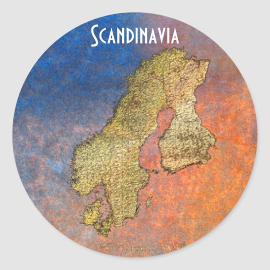 Map of SCANDINAVIA on Coloured Stone BG Stickers