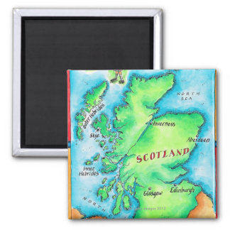 Map of Scotland 2 Inch Square Magnet